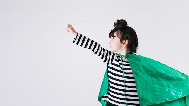 Girl in superhero cape Free Photo