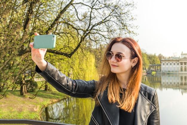 The girl makes selfie Premium Photo