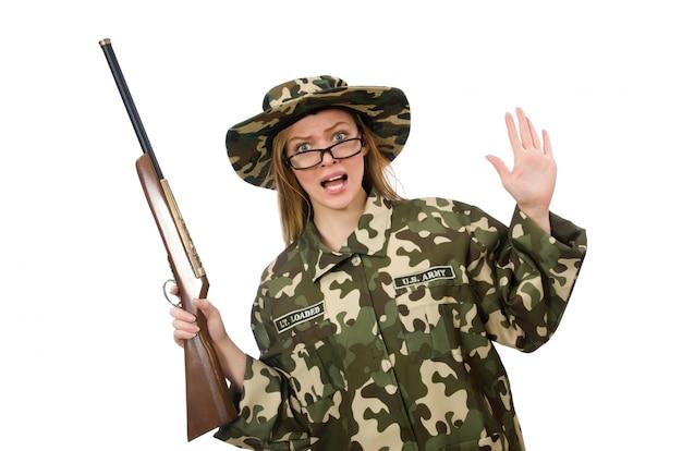Girl in military uniform holding the gun isolated on white Premium Photo