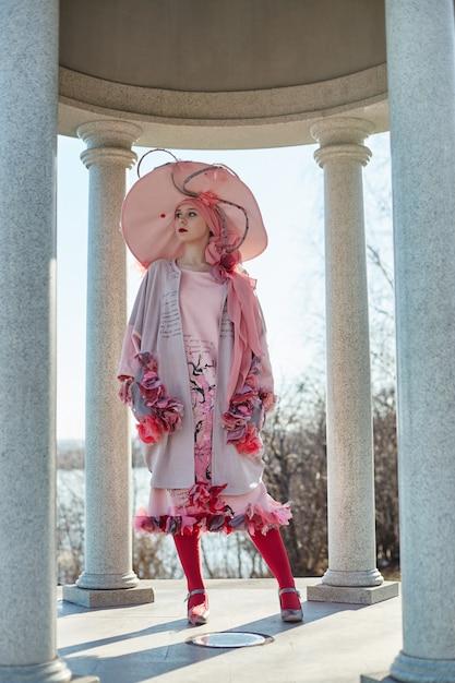 Girl in new fashion vogue creative clothes ethnic Premium Photo
