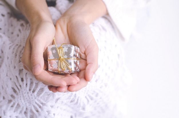 Girl's hands holding a silver christmas present with copyspace Premium Photo