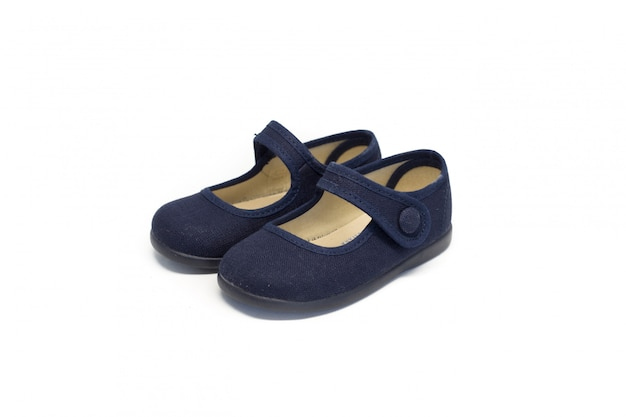 a101fbf63 Girl shoe dark blue on white background Photo | Premium Download