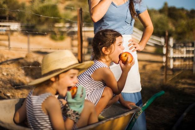 Girl sitting in the wheel borrow eating apple Free Photo