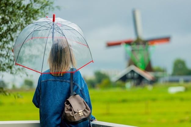 Girl stay on bridge with dutch mills Premium Photo