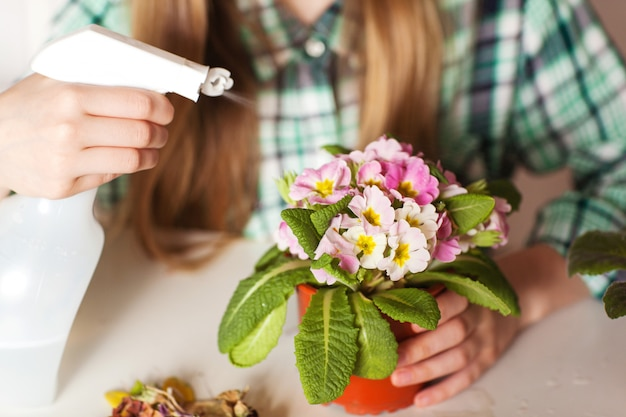 Girl take care of plants in her house, close-up | Premium Photo