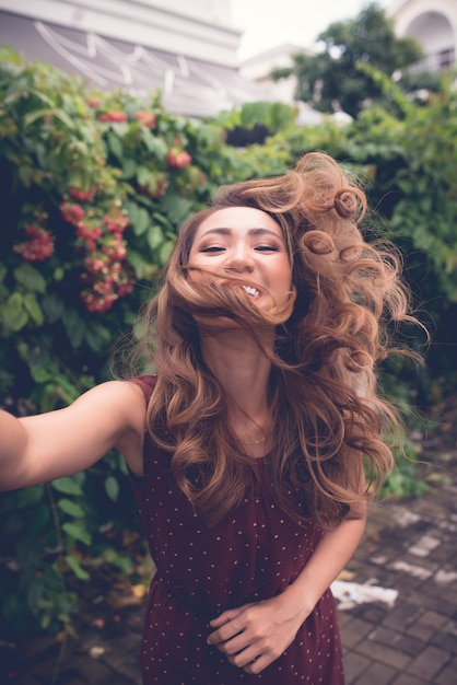 Girl taking selfies Free Photo