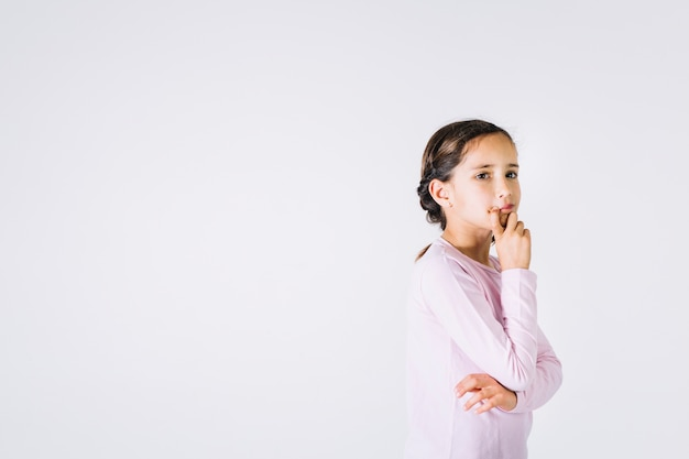 girl thinking over problem photo free download