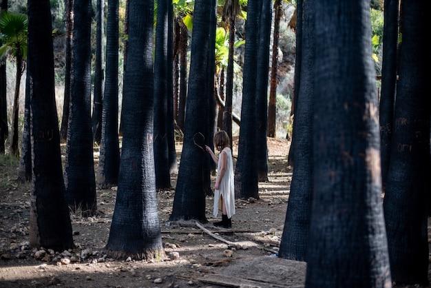 Девушка в белом платье в лесу в окружении зелени под солнечным светом Бесплатные Фотографии