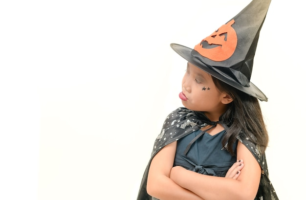 Girl in witch costume rejects do something Premium Photo