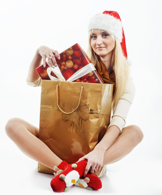Girl with a christmas presents Premium Photo