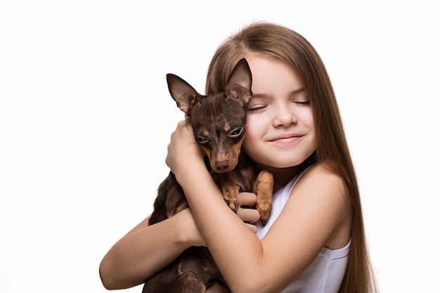 Girl with a dog Premium Photo
