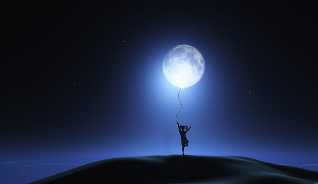 Girl with the moon as balloon Free Photo