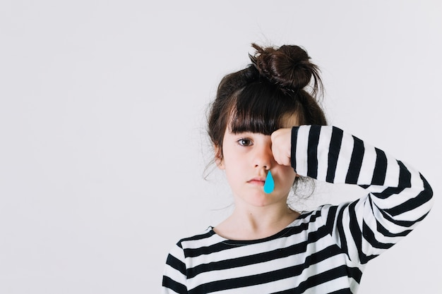 Girl with running nose Free Photo