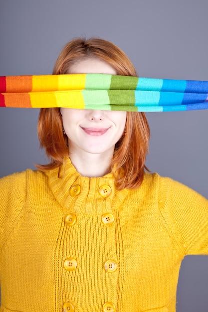 Girl with scarf near eyes. Premium Photo