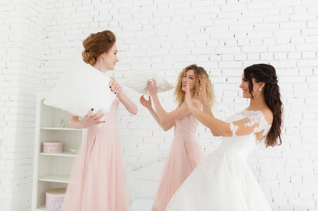 Girls celebrate a bachelorette party of bride. Free Photo