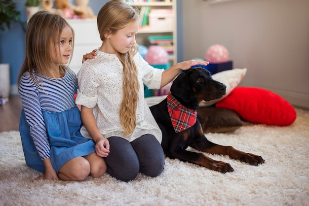 Girls and dog sitting in a row Free Photo