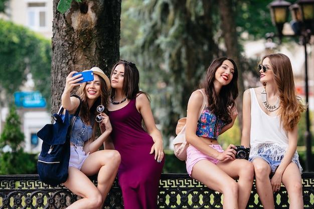 Girls making photos Free Photo