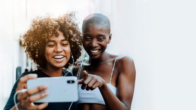 Girls making a video call Premium Photo
