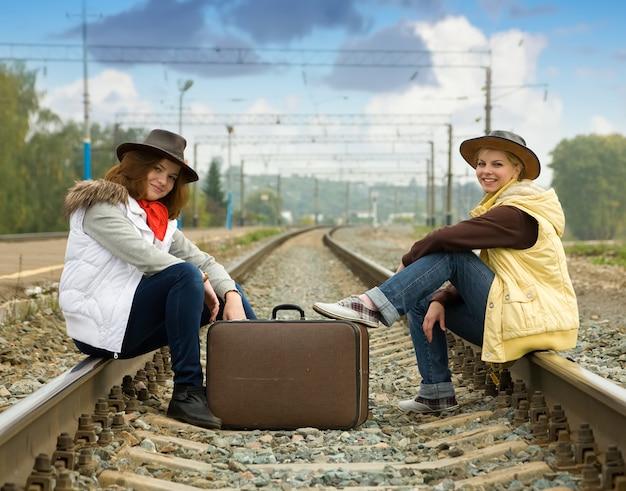 Girls on  railway Free Photo