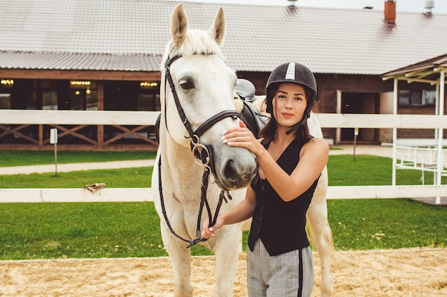 The girls ride on horses Free Photo