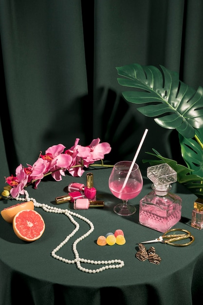 Girly items arrangement on table Free Photo