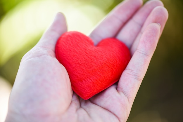 Give love man holding small red heart in hands for love valentines day donate  help give love warmth take care Premium Photo