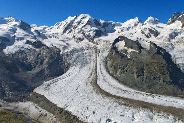 Glacier in swiss alps, snow and ice, beautiful alpine landscape of summer in mountains, Premium Photo