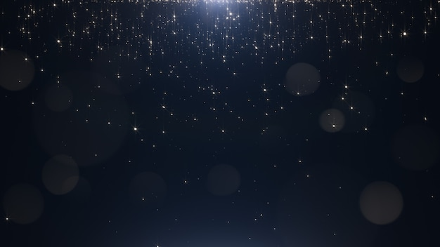 Glamorous golden particles on a black background Premium Photo