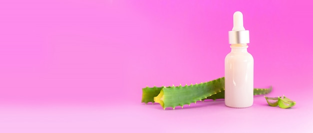 Glass bottle with aloe vera leaf cut into slices with dropper Premium Photo