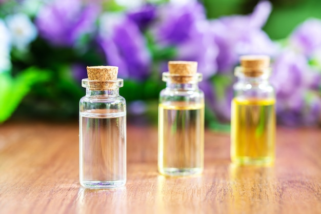 Glass bottle with essential oil Premium Photo