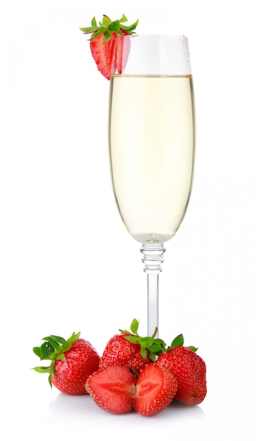 Glass of champagne and fresh strawberry isolated on white Premium Photo