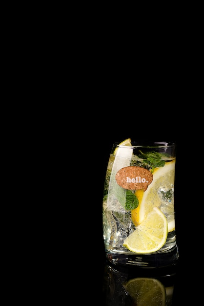 Glass of a cold cocktail drink with tonic Premium Photo
