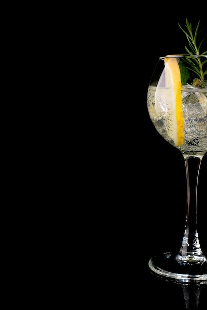 Glass of a cold cocktail drink with white wine Premium Photo