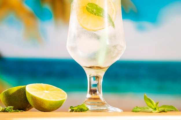 Glass of cold lime water with ice Free Photo