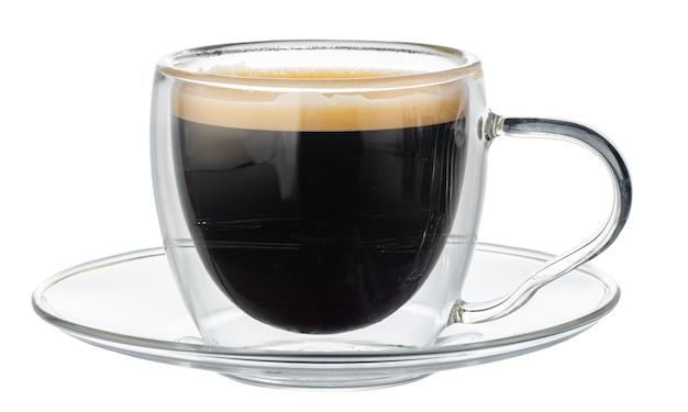 分離されたエスプレッソコーヒーのガラスカップ Premium写真