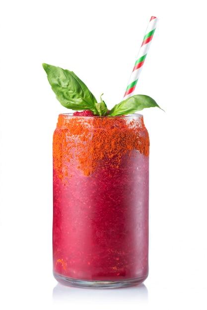 Glass of fresh beetroot juice (smoothie) isolated Premium Photo