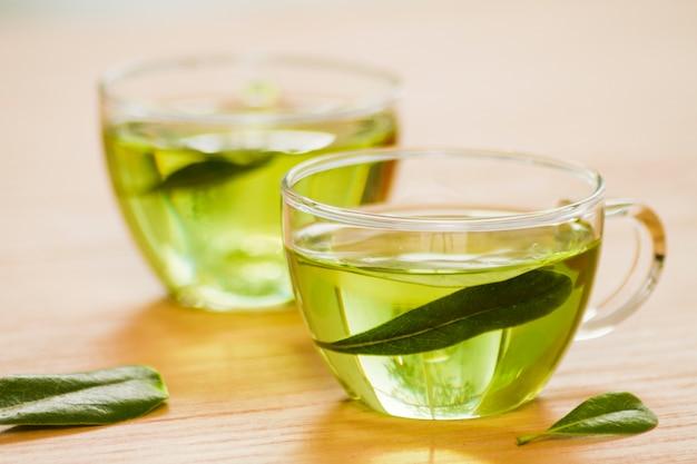 Glass of green tea Free Photo
