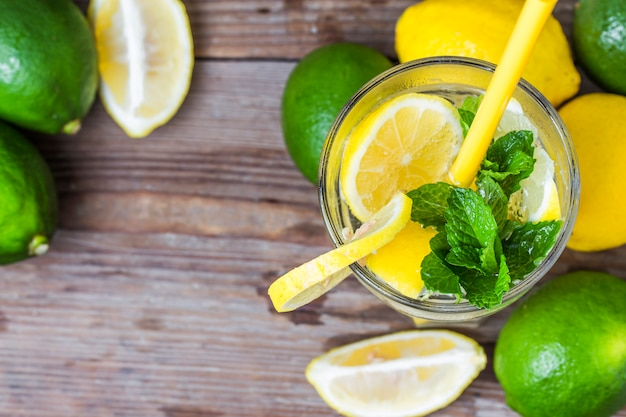 A glass of homemade mint lemonade Free Photo