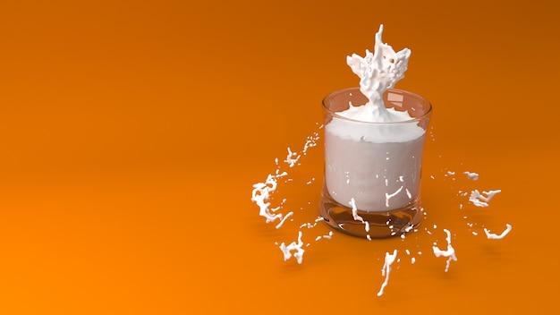 Il bicchiere di latte 3d rende Foto Gratuite
