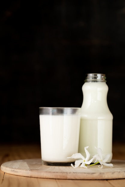 Glass of milk and a bottle of fresh milk Free Photo