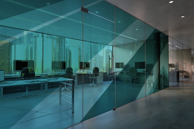 Glass office room wall mockup Premium Photo