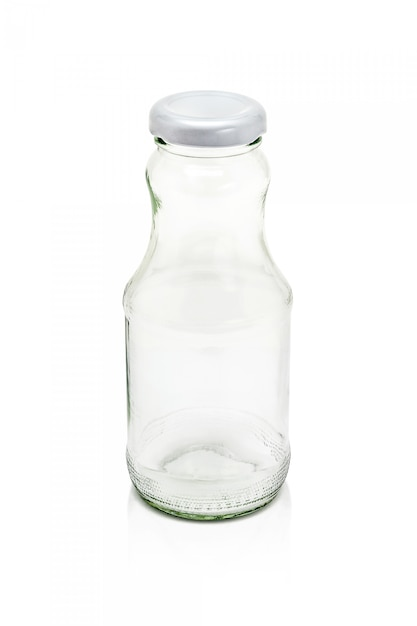 Glass packaging bottle for beverage product isolated on white background Premium Photo