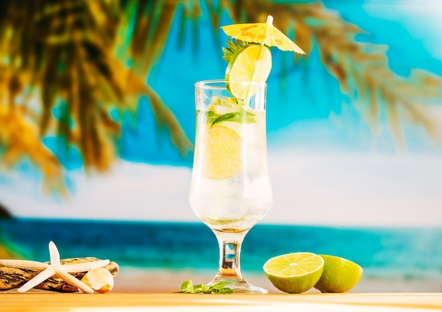 Glass of refreshing lime water with ice Free Photo