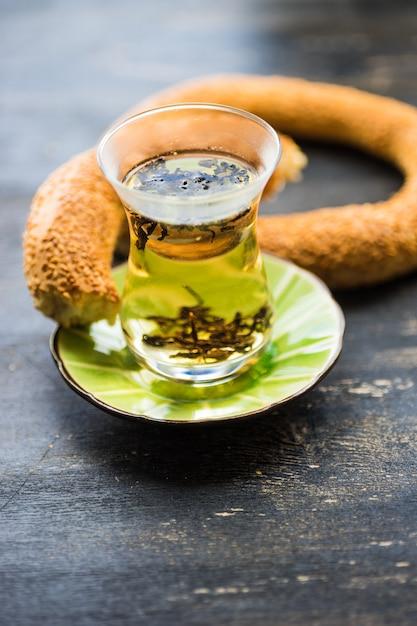 Glass of tea in turkish style Premium Photo