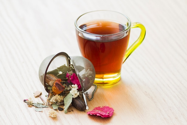 Glass of tea with leaves Free Photo
