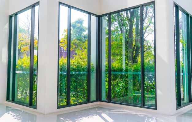City Glass Windows : Glass window overlooking green garden photo free download