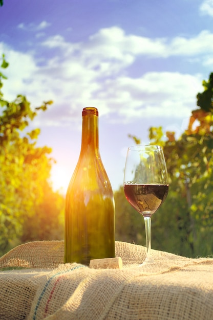 Glass of wine with bottle. Free Photo