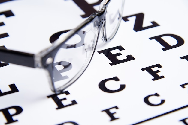 Glasses lie on the table for eye examination. Premium Photo
