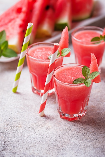 Glasses of watermelon smoothie with mint Premium Photo