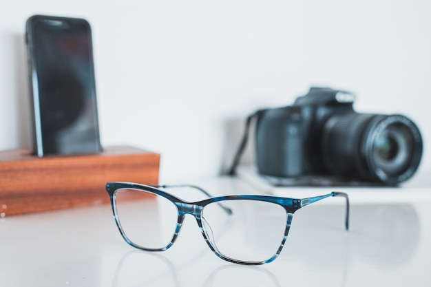 Glasses with camera and phone Premium Photo
